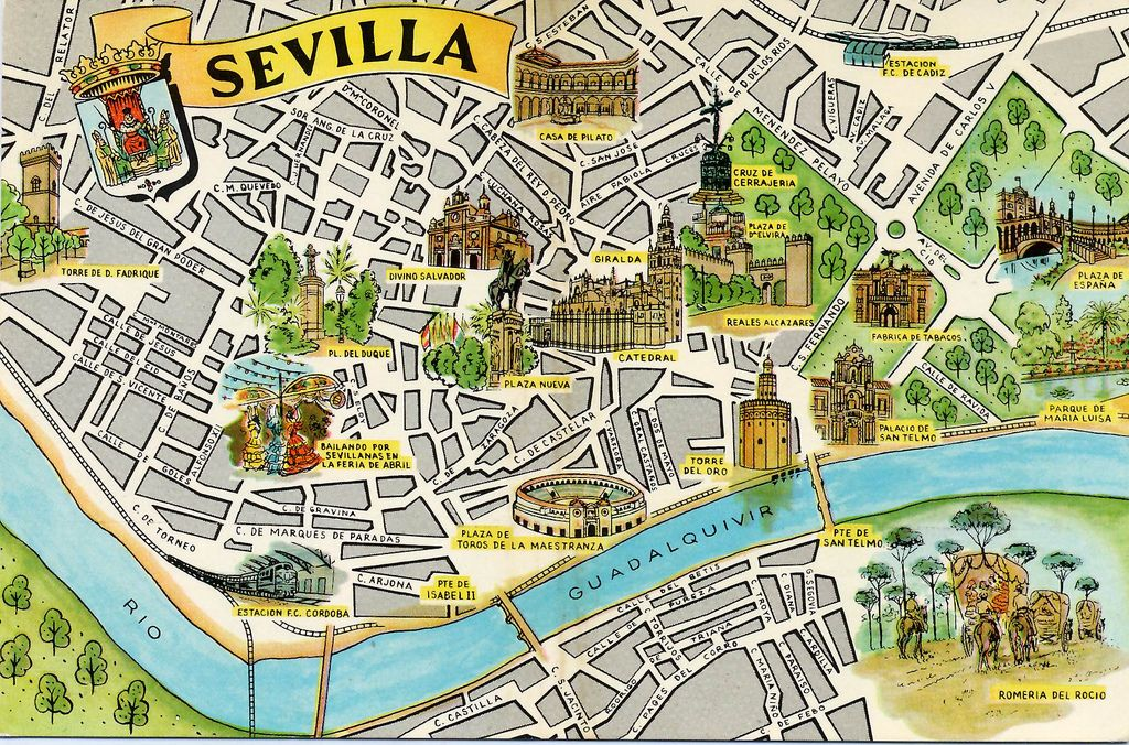Sevilla Map Card in 2019 | spain | Sevilla, Andalusia, Seville