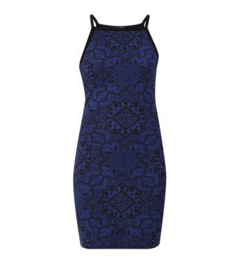 Dark Blue Strappy Geo Print Bodycon Dress