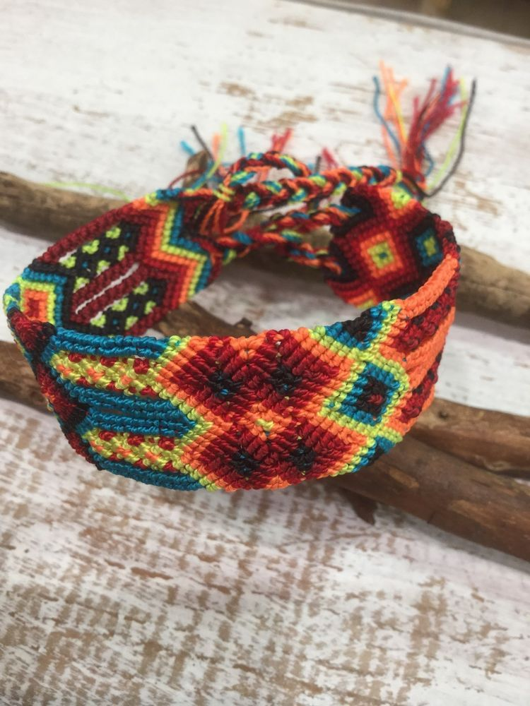 Friendship Bracelet 1 Woven Hand made Guatemalan Omega Wide Style Fair Trade