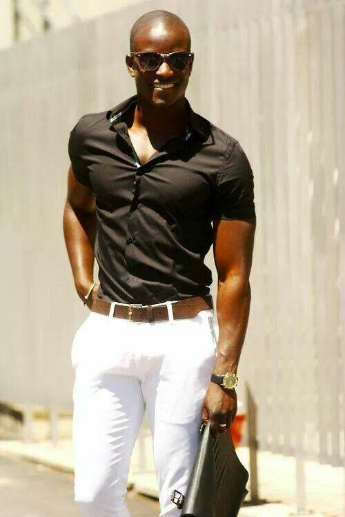Men black shirt white pants | Panthro | Pinterest | Stylish men
