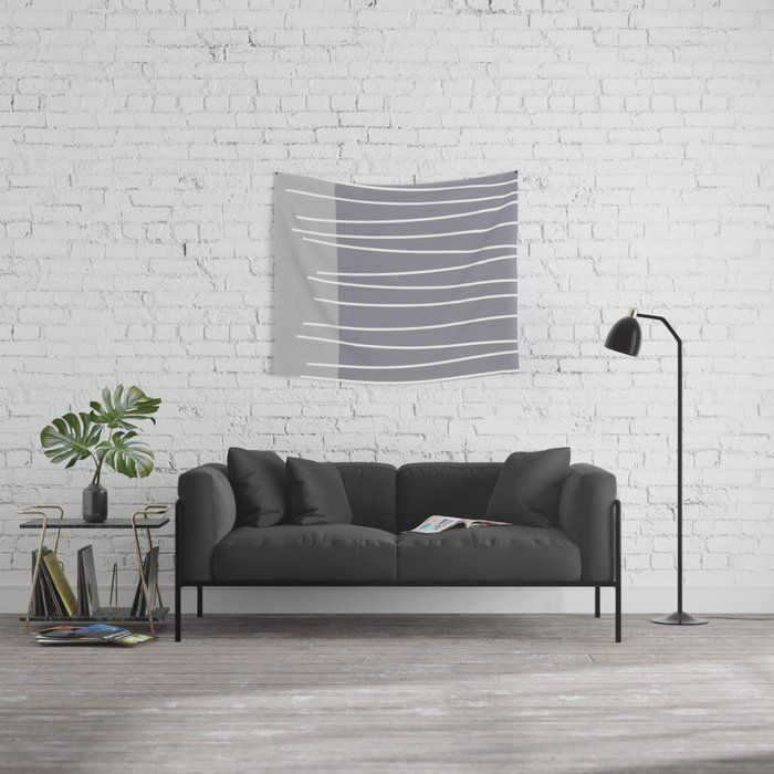 Mid century modern textured gray stripes Wall Tapestry by michelledrew