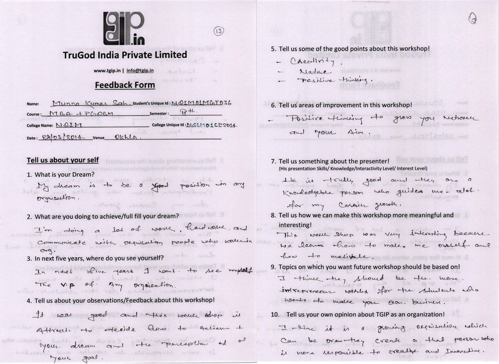 Feedback FormsNdim  Feedback Forms Of New Delhi Institution Of