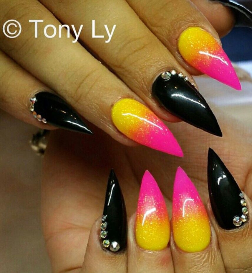 Black Pink Yellow Ombre Nails Tonysnail Pink Ombre Nails Ombre Nails Pink Lipsticks