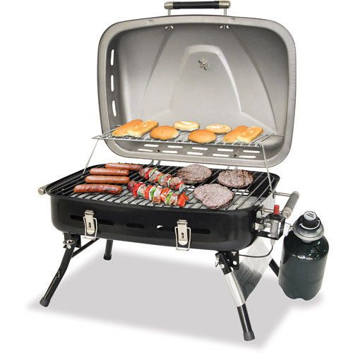 Stainless Portable Tabletop Gas Grill Camping Cooking Propane Bbq