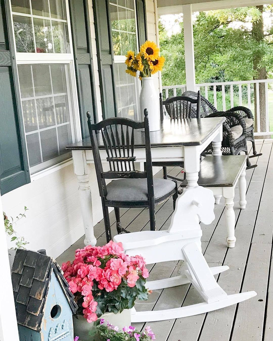 Back porch black farmhouse chairs ms eunices table