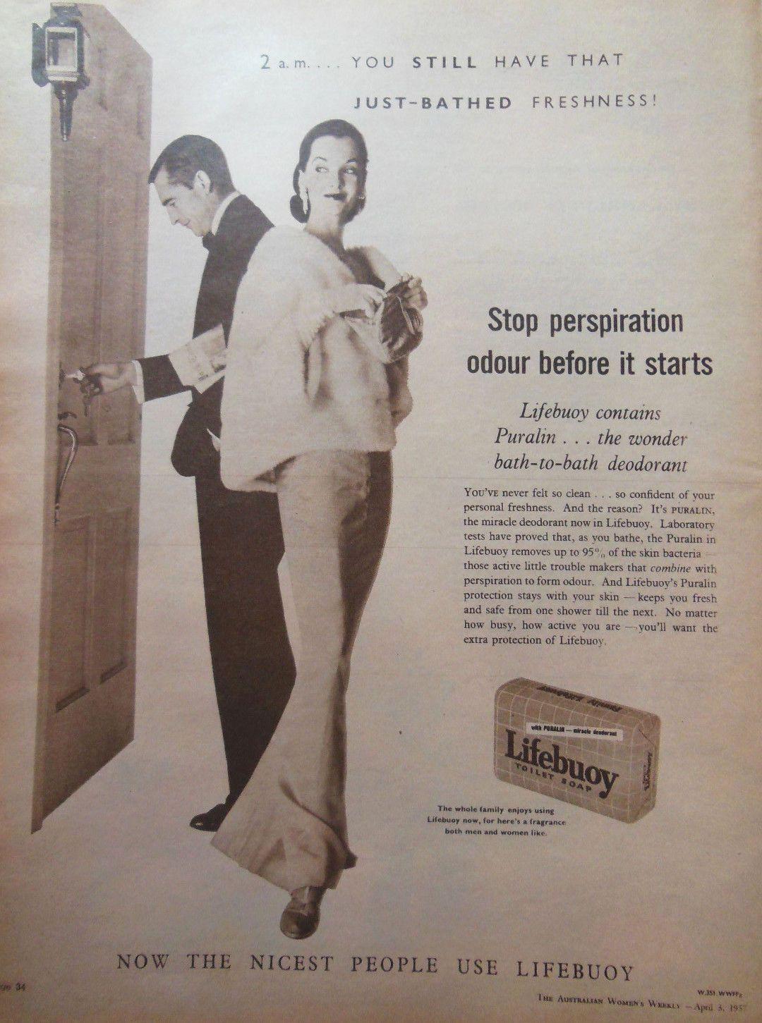 Vintage bathroom ads - Lifebuoy Soap Ad 1957 Original Vintage Retro Australian Bathroom Advertising In