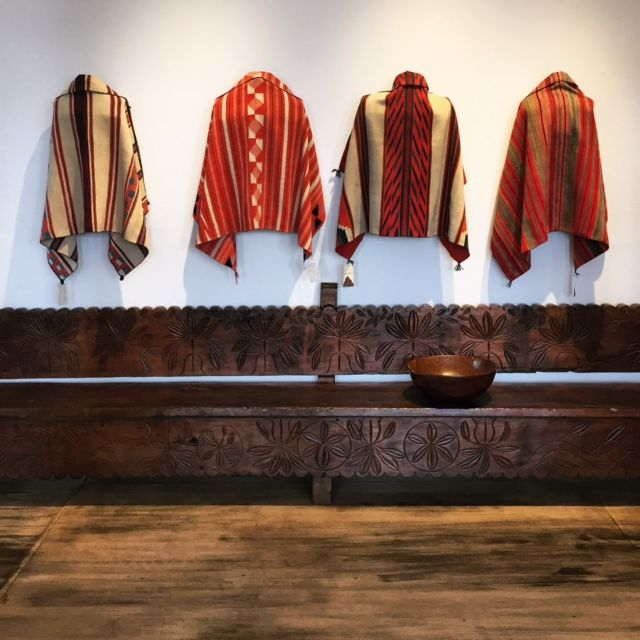 Native American Rugs In Santa Fe: Late Classic Navajo Child's Blankets Above An Antique