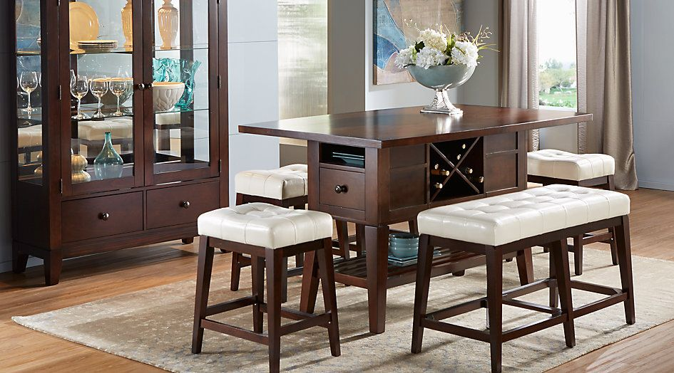 Picture Of Mango Burnished Walnut 5 Pc Counter Height Dining Room Amusing Pub Height Dining Room Table Review