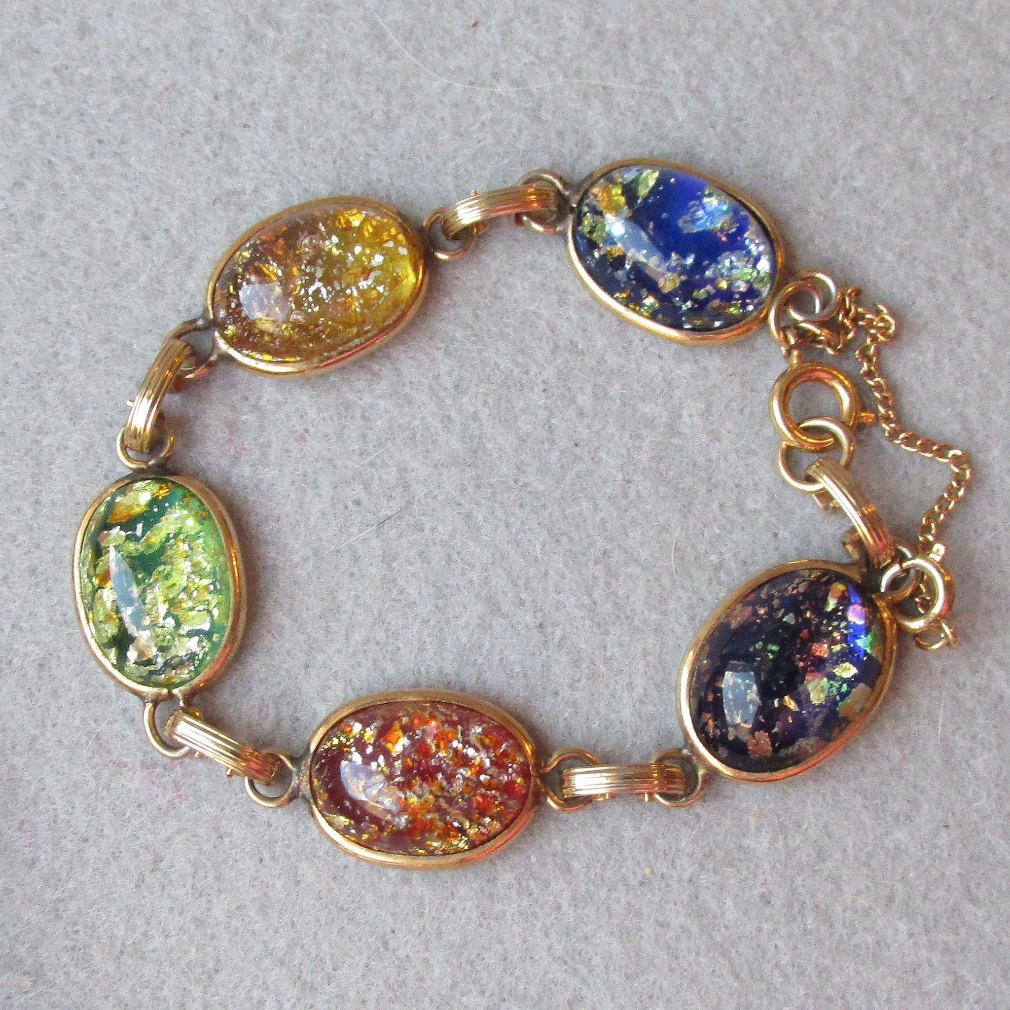 Cabochon bracelet ton gold