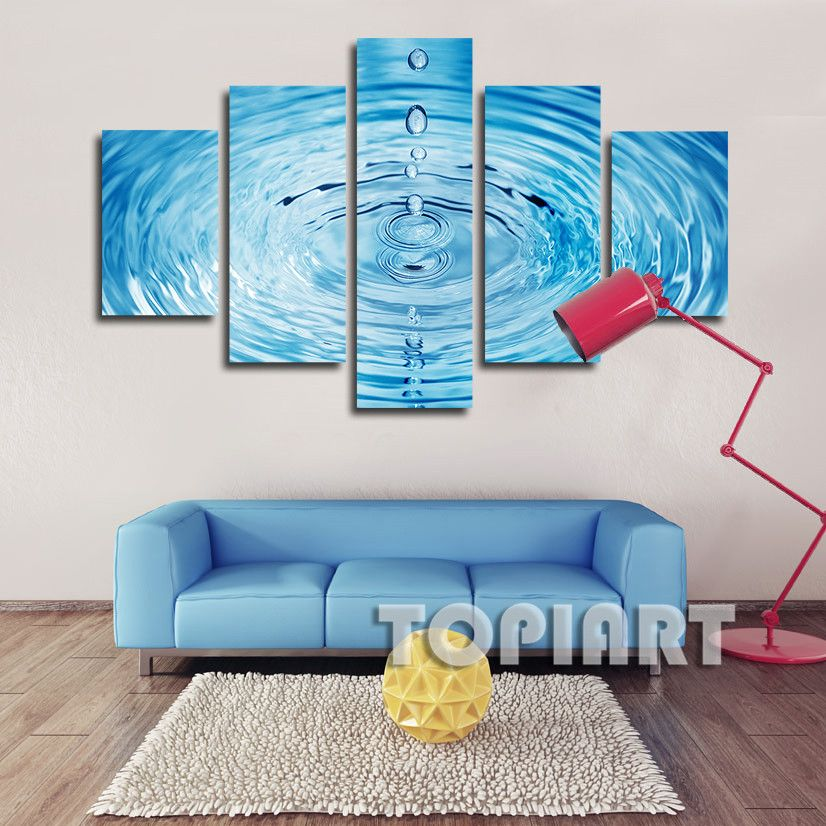 5 Piece Wall Decor Canvas Blue Water Droplets Ripples Art Painting Abstract  Prints For Home Office