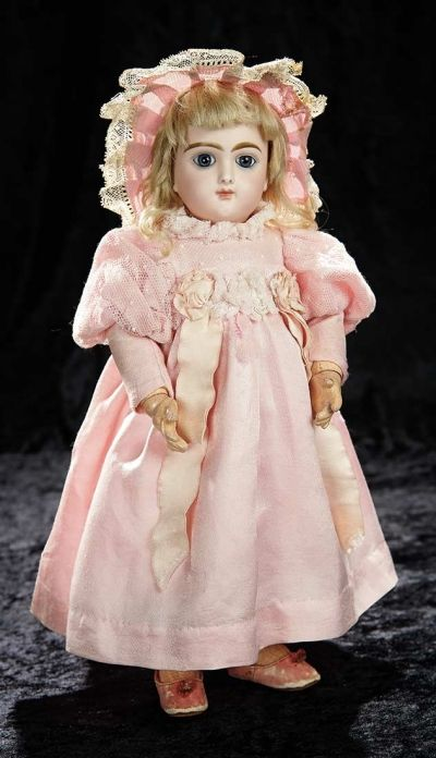 """Soirée: A Marquis Cataloged Auction of Antique Dolls and Automata - May 14, 2016: Lot 235. French Bisque """"Bebe Francais"""" by Emile Jumeau"""