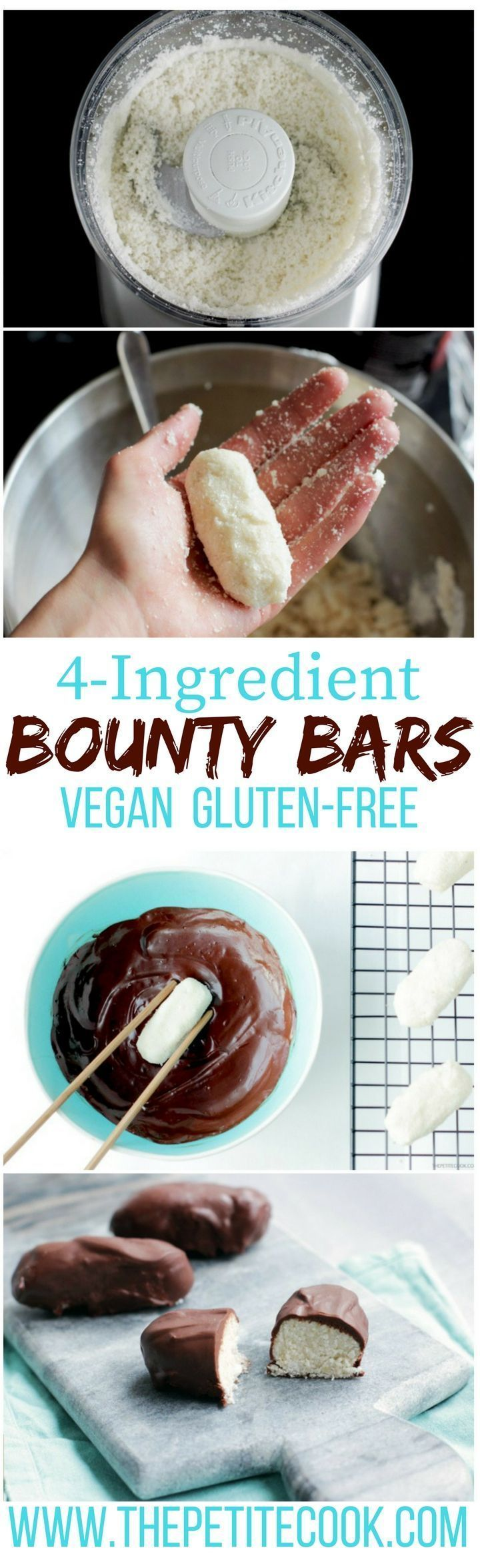 Homemade Bounty Bars are super easy to make and only require 4 healthy wholesome ingredients! Plus, they're vegan, dairy-free and gluten-free! Recipe by The Petite Cook (delicious cookies cooking)