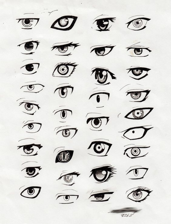 Of a form in which an object is revealed by distinct contours in some areas whereas other edges simply vanish or dissolve into the ground anime eyes