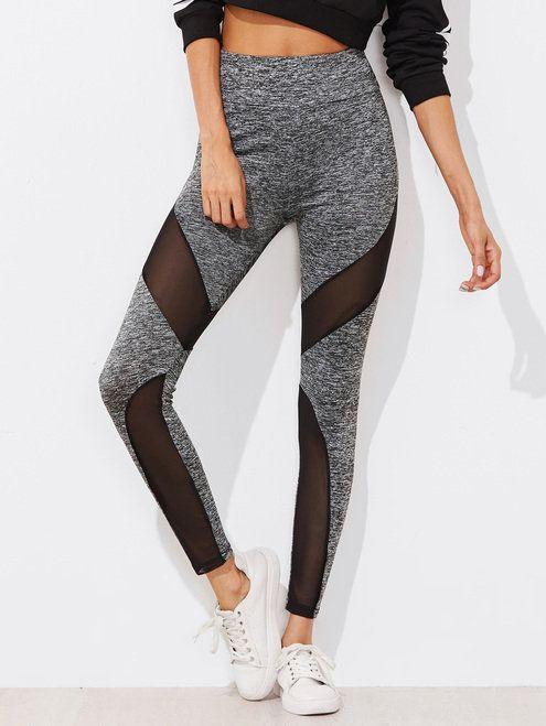 728a81ea7d2b0d Active Mesh Panel Zip Detail Leggings | Ladies Leggings Sale ...