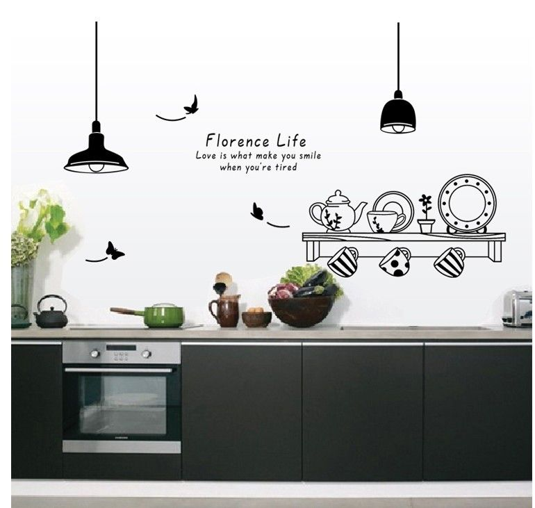 Free Shipping 60*90CM Florence Life Removable Wall Stickers Kitchen Tea Cup  Cupboard Decorative Stickers Part 42