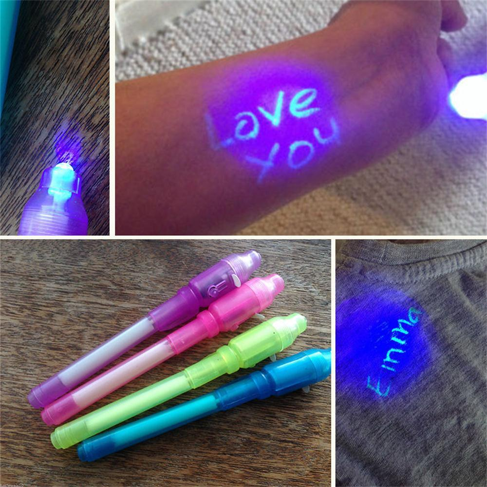 5 Colors Kids Spy Pen Invisible Ink UV Light Magic Secret Messages Party Gifts