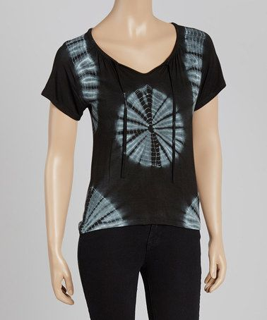 Look what I found on #zulily! Black & Gray Tie-Dye V-Neck Top by Avatar Imports #zulilyfinds