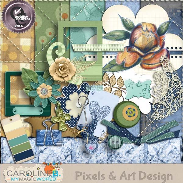 #PixelsAndArtDesign - Abbey 1 Abbey will make beautiful pages in soft tones of blues with touches of green and mustard.  Including :  - 5 papers  - 20 elements  - 1 alpha (26 characters).    Make sure to see all for the matching sets in the store.            Buy Now http://www.pixelsandartdesign.com/store/index.php?main_page=product_info&products_id=1323