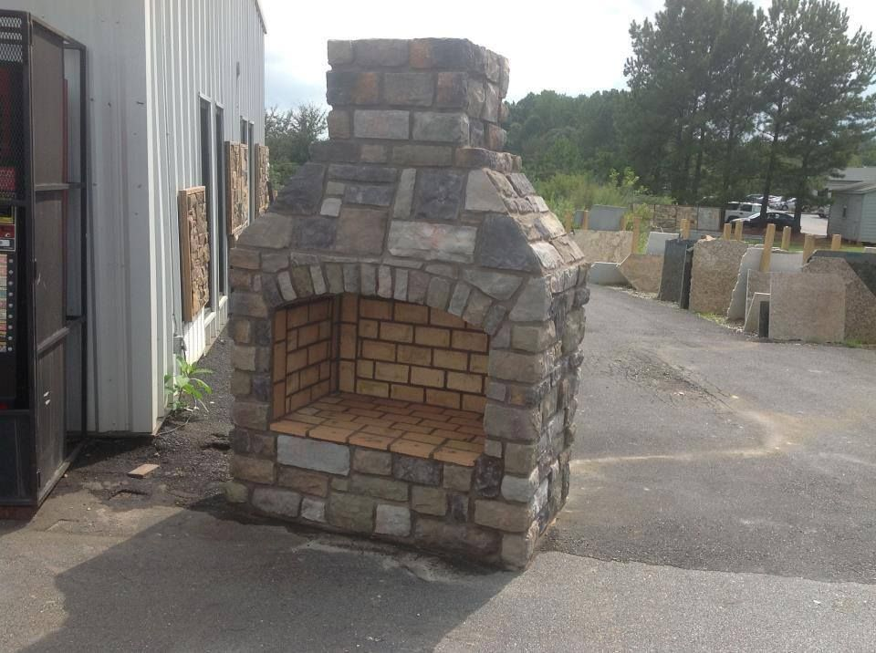 Outdoor Fireplace Made Out Of Concrete Blocks Stone And Brick