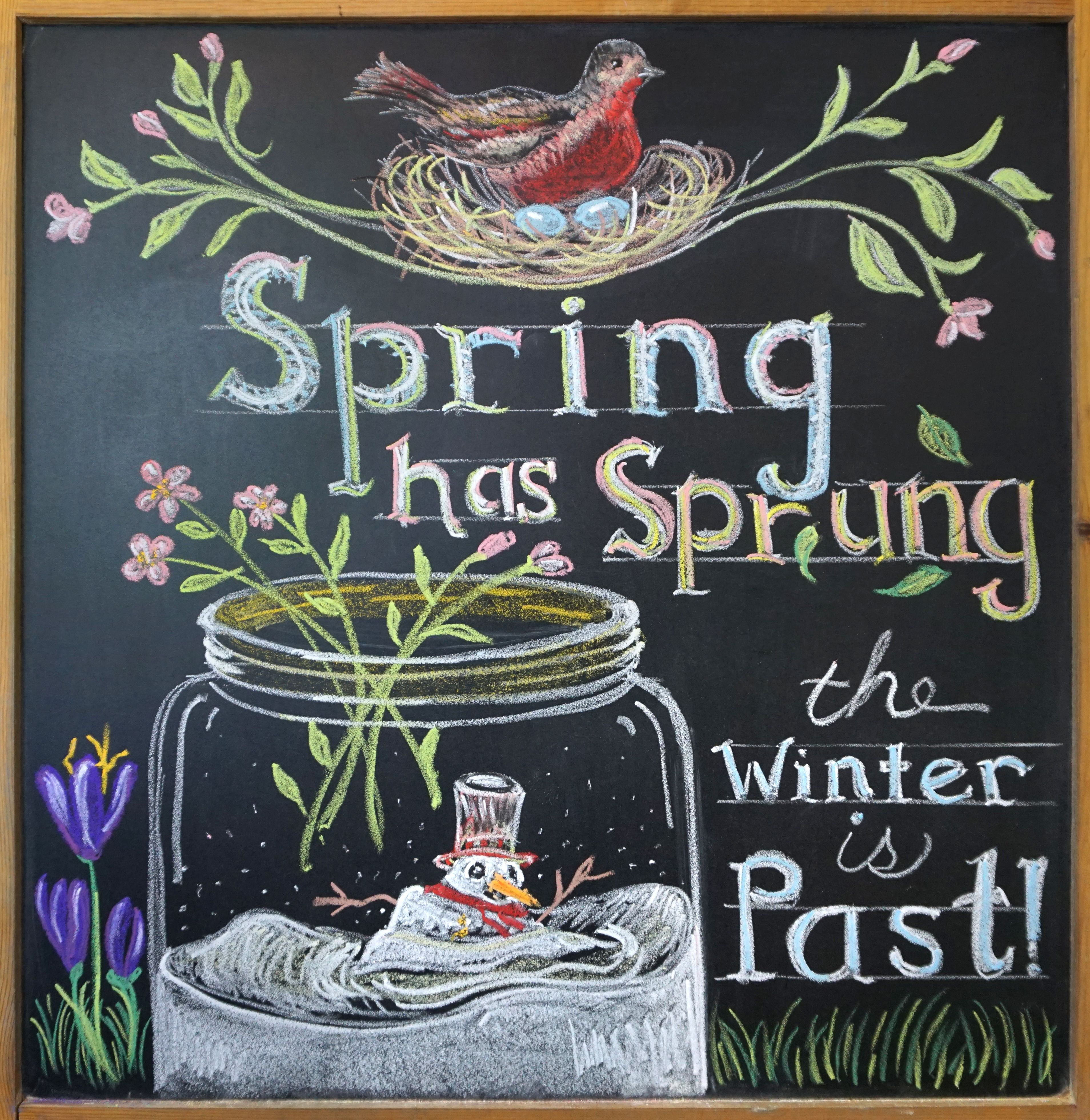 Spring Chalkboard Art. By June Simonton #Chalkboard | June\'s art ...