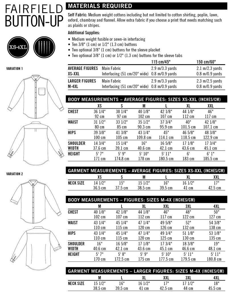 Fairfield Button-up Shirt Tissue Pattern | Menswear | Pinterest