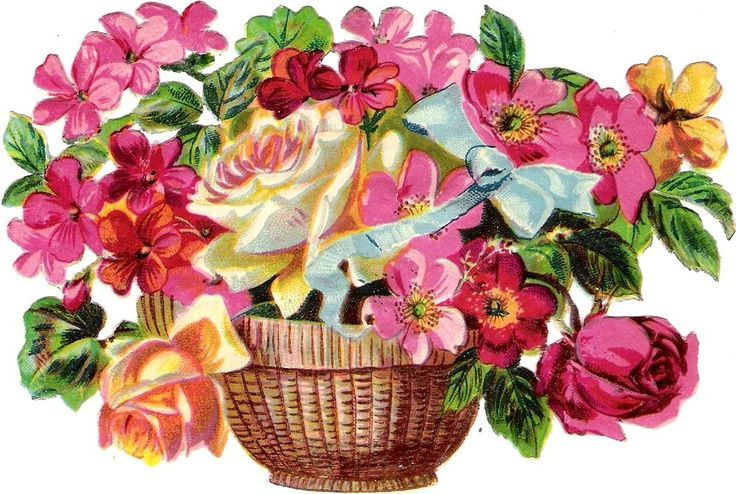 Oblaten Glanzbild scrap die cut  chromo  Blumen Korb  14,3 cm  basket  Rose