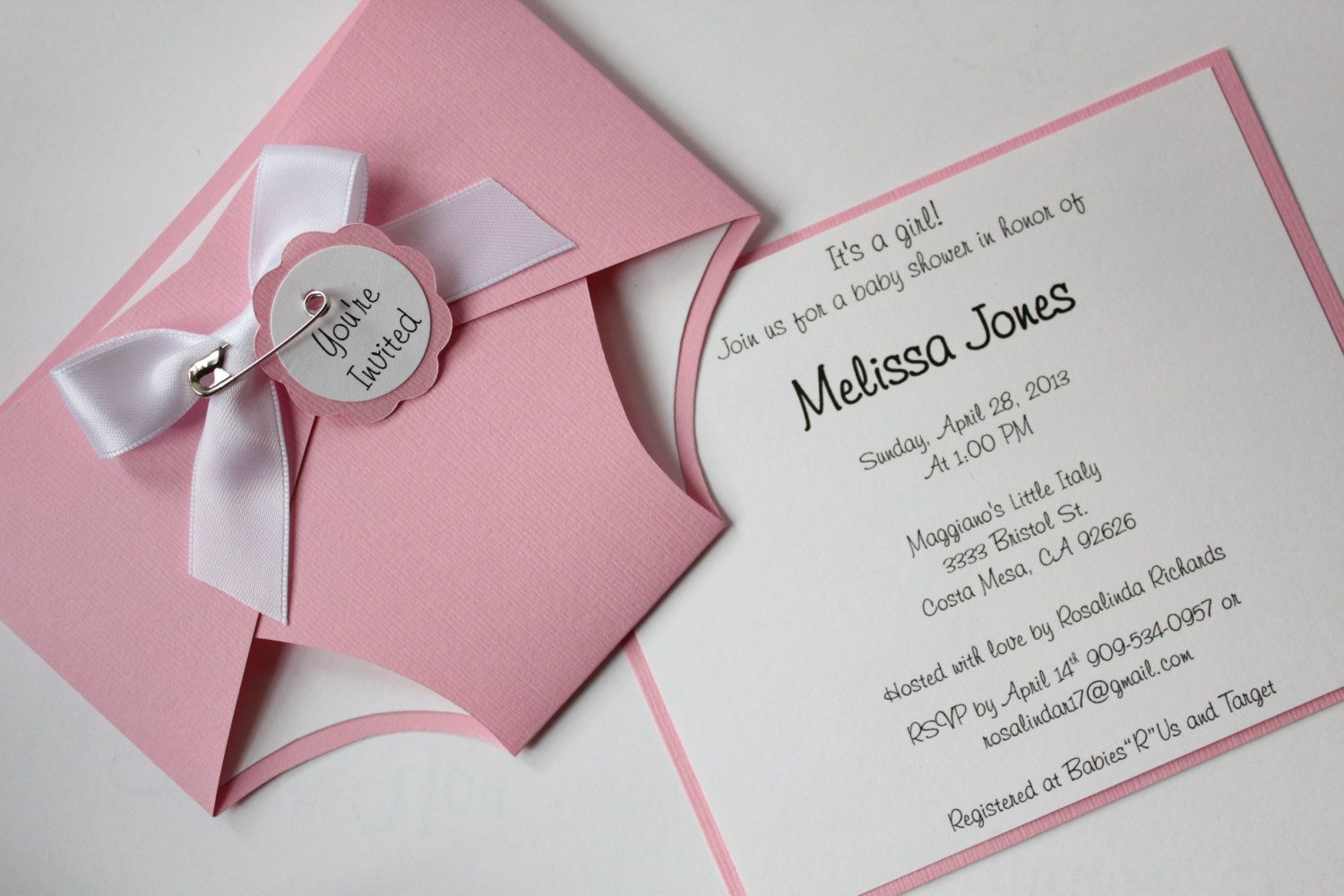 Reserved Listing for Tondria - Baby Shower Diaper Invitation - Girl ...