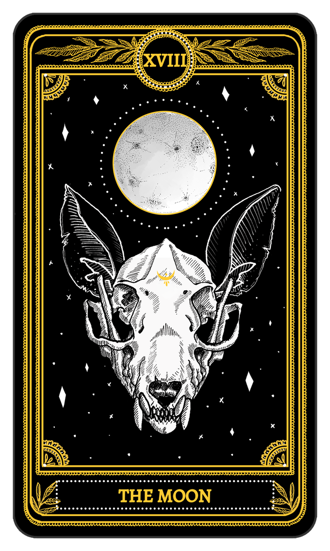 The Moon From The Major Arcana Of The Marigold Tarot Tarot Karten Kunst Tarot Karten Tarot