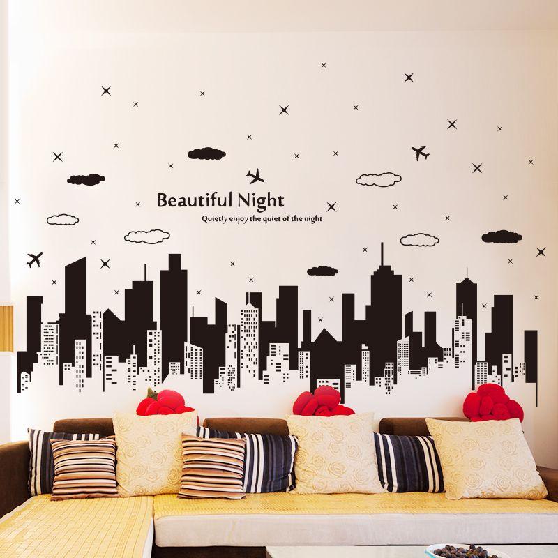Shijuehezi Beautiful Night Buildings Skirting Line Sticker Home Decor Sticker For Living Room Sofa Ba Wall Stickers Living Room Vinyl Wallpaper Wall Stickers #wall #decor #stickers #living #room