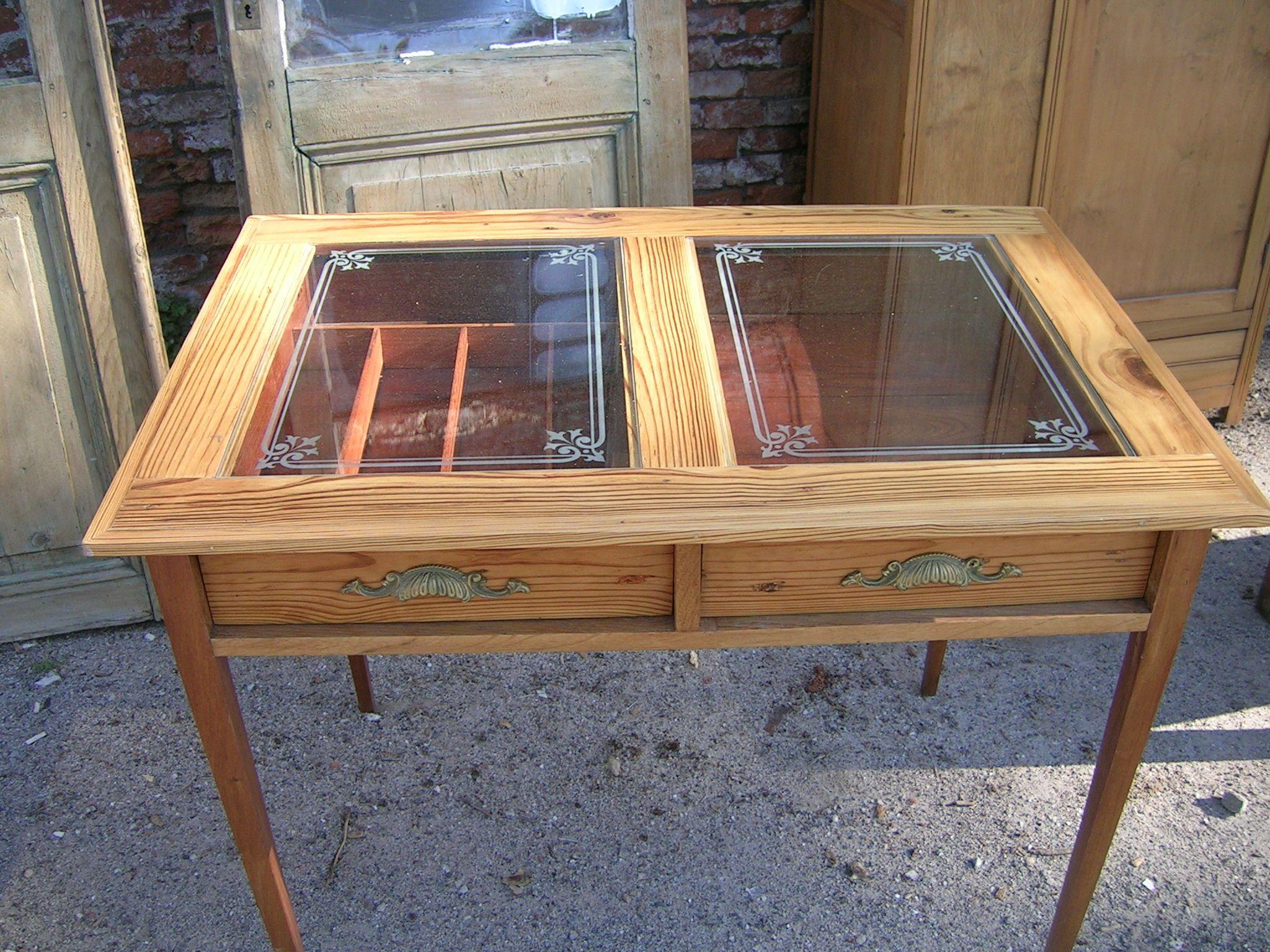 Mesa de Cocina en Pinotea con Cajones a la vista   Muebles Vintage ...