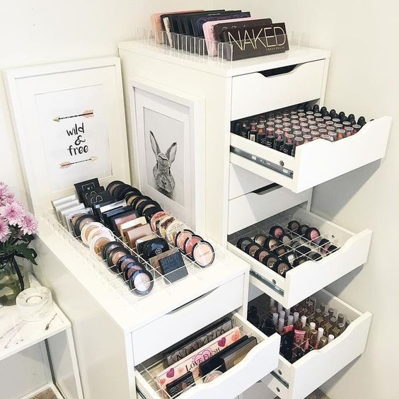 Genius Ikea Hacks For Organizing Your Makeup Makeup Rooms Beauty Room Makeup Storage