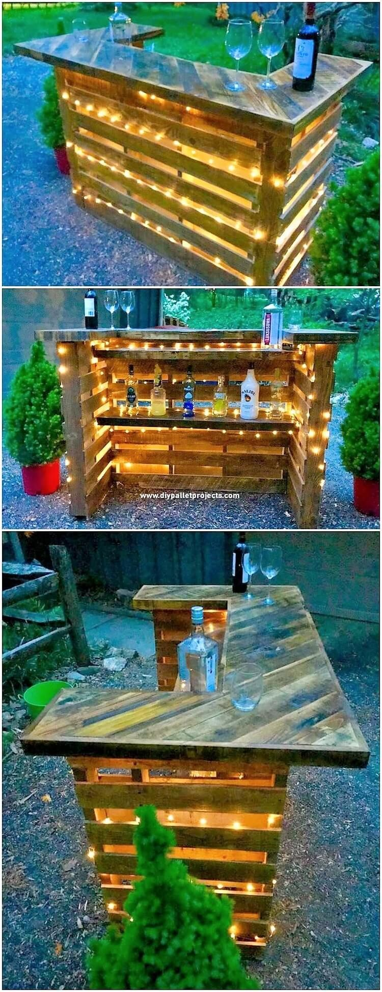 Here Comes Such A Titanic And Majestic Designing Of The Wine Bar With Lights Concept All Via The Wood P Diy Garden Furniture Diy Outdoor Bar Outdoor Pallet Bar