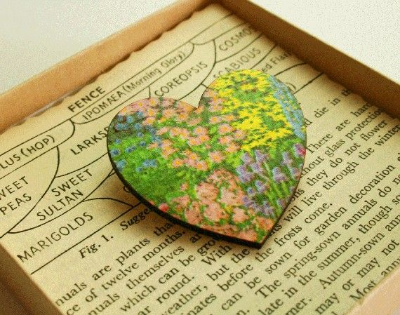 Floral heart brooch by Bombus on Etsy