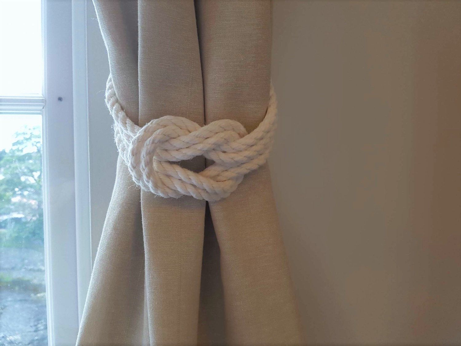 Nautical bathroom curtains - Cotton Rope Double Square Knot Nautical Curtain Tie Backs Shabby Chic Ivory White Curtain