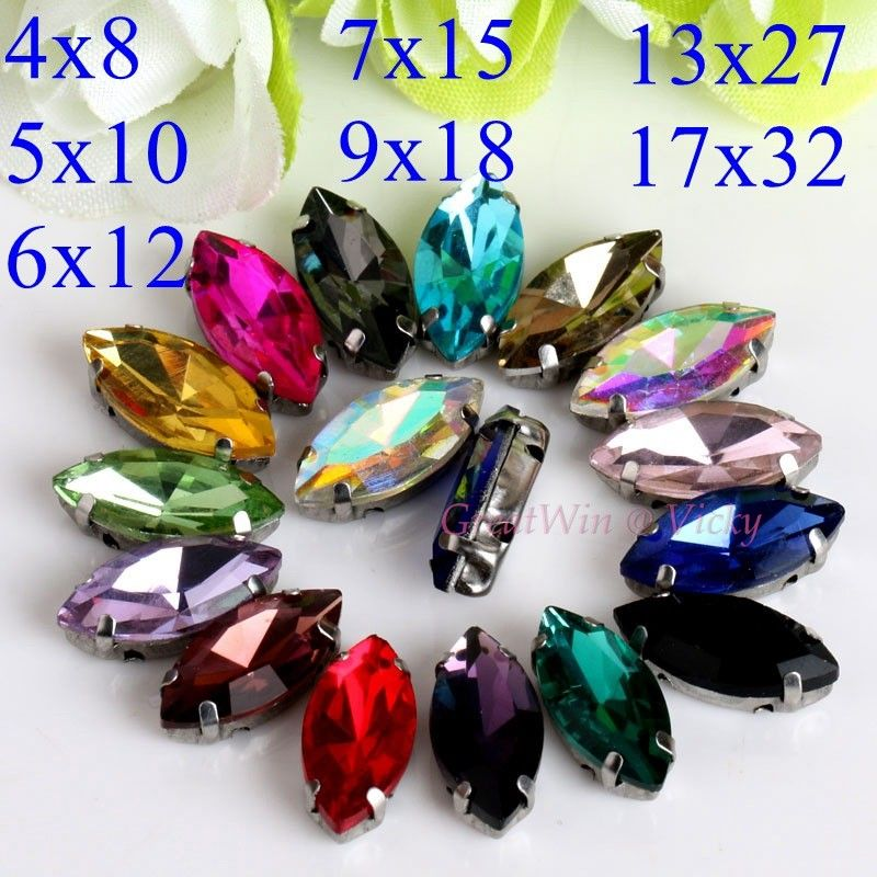 Glass Rhinestones Horse Eye Leaf Shape Diamond With Claw Sew On Strass Metal Base Buckle Crystal Stone Beads For Clothes