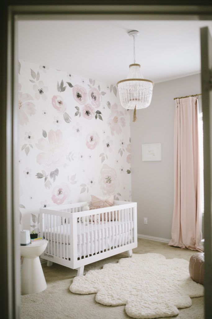 floral whimsy nursery glam baby girl nursery featuring jolie wallpaper from the project nursery shop - Cute Baby Girl Room Themes
