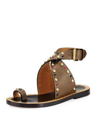 493fe997a Isabel Marant Jools Studded Ankle-Wrap Sandal