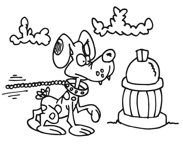 Dog And Fire Hydrant Coloring Pages Kids Play Color