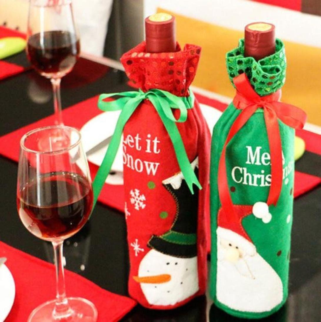 Iuhan Christmas Santa Claus Red Wine Bottle Cover Bags Champagne Wine Bottle Sets Random Color Sty Wine Bottle Decor Christmas Wine Bottles Bottles Decoration