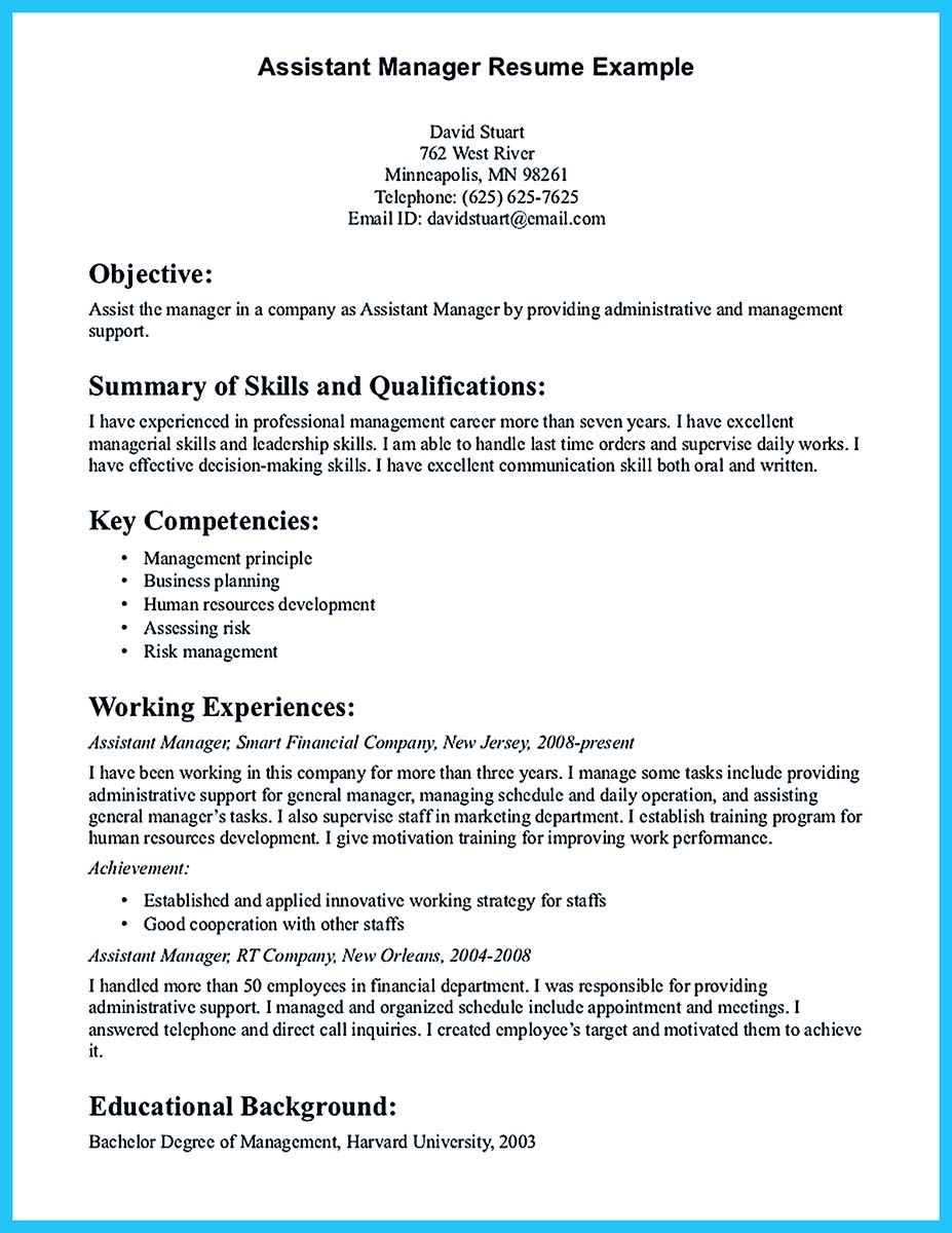 Assistant Store Manager Resume If You Wish To Be An Assistant Manager You Need To Make Assistant
