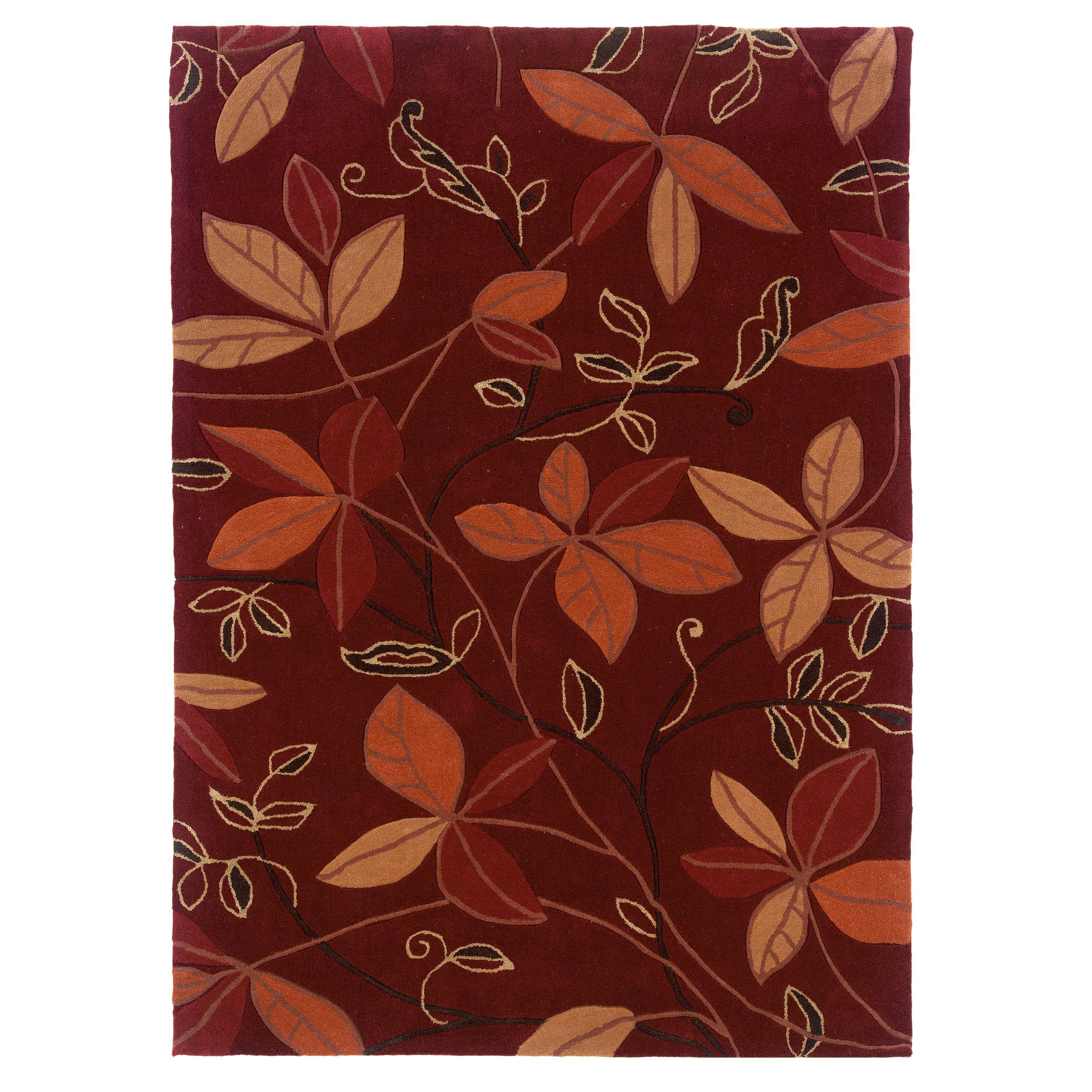 Linon Trio Collection Garnet & Orange Rug (5' x 7') (Garnet & Orange Rug (5' x 7')), Size 5' x 7' (Cotton, Floral)
