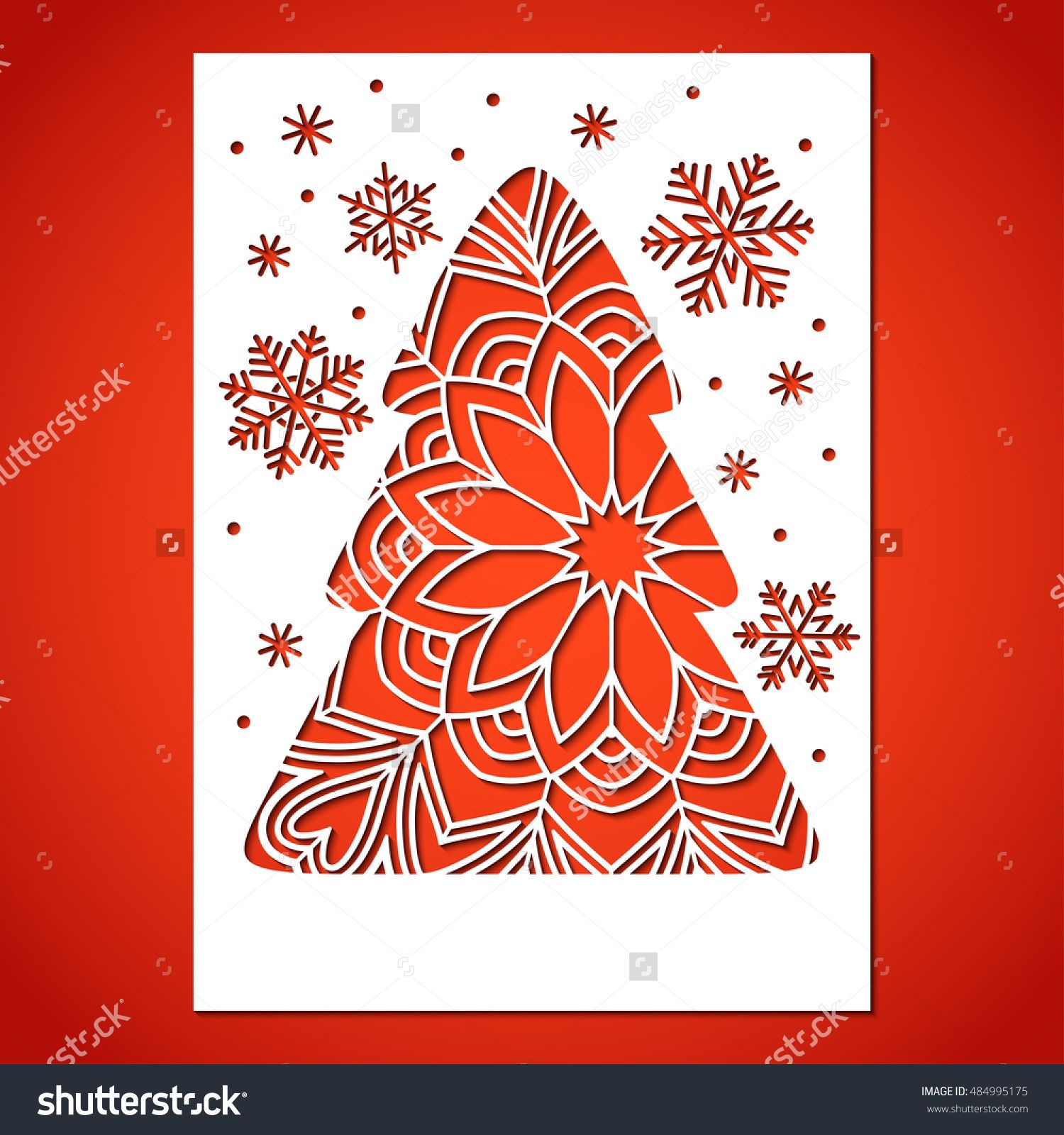 Openwork Christmas Tree And Snowflakes Laser Cutting Template For Greeting