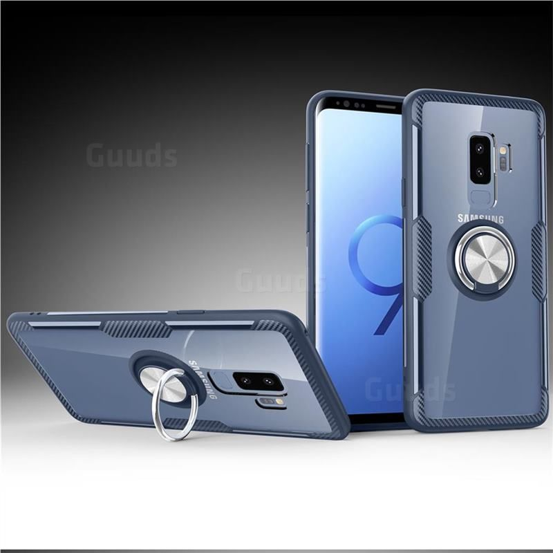 Acrylic Glass Carbon Invisible Ring Holder Phone Cover for Samsung