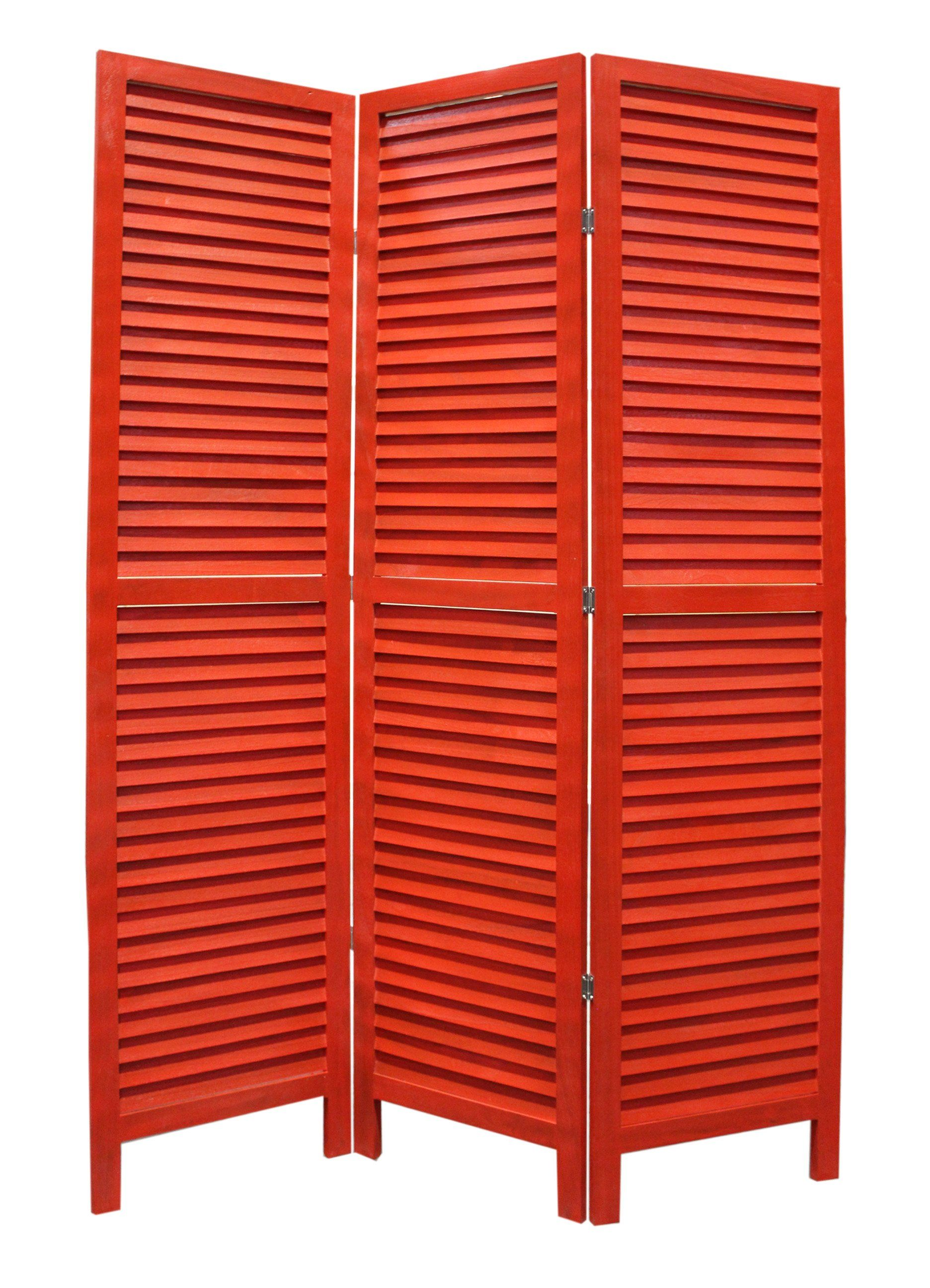 Panel Room Divider, Red Shutters, Wooden