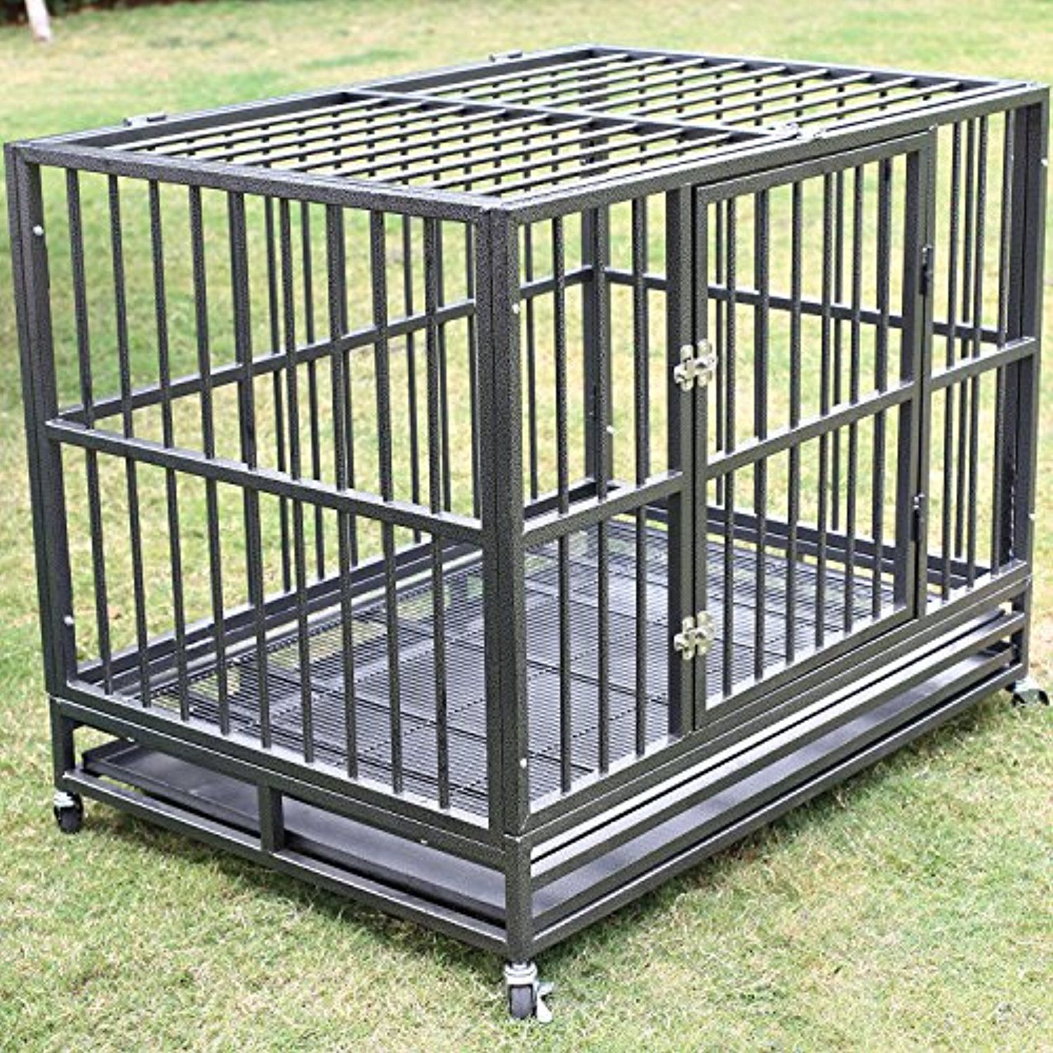 New 42 Dog Crate Kennel Heavy Duty Pet Cage Metal Playpen With Tray Pan Wheel Silver Click On The Image For Additiona Dog Cages Dog Crate Dog Cages For Sale