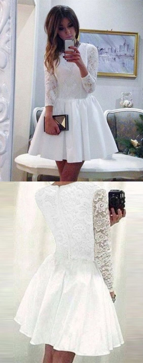 Long sleeve homecoming dresses white lace a line short prom dress