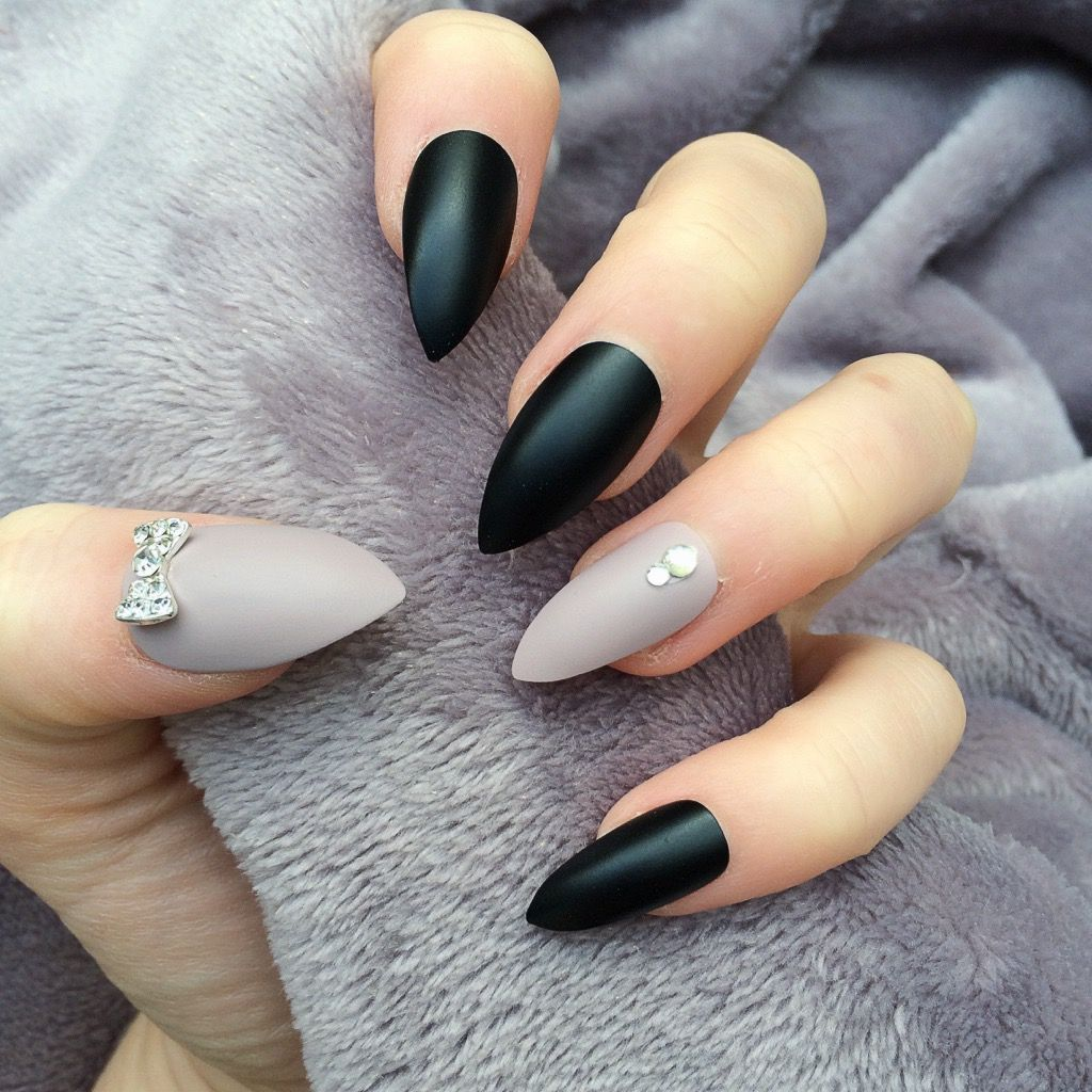 Black Matte Taupe Thumbs | Nails | Pinterest | Prom nails and Black ...