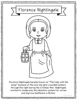 Florence Nightingale Coloring Page Craft With Biography Nurse