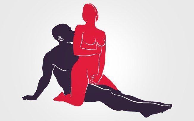 Cavalgada de costas: ela senta sobre o corpo dele e estimula seu pênis deslizando para frente e para trás.