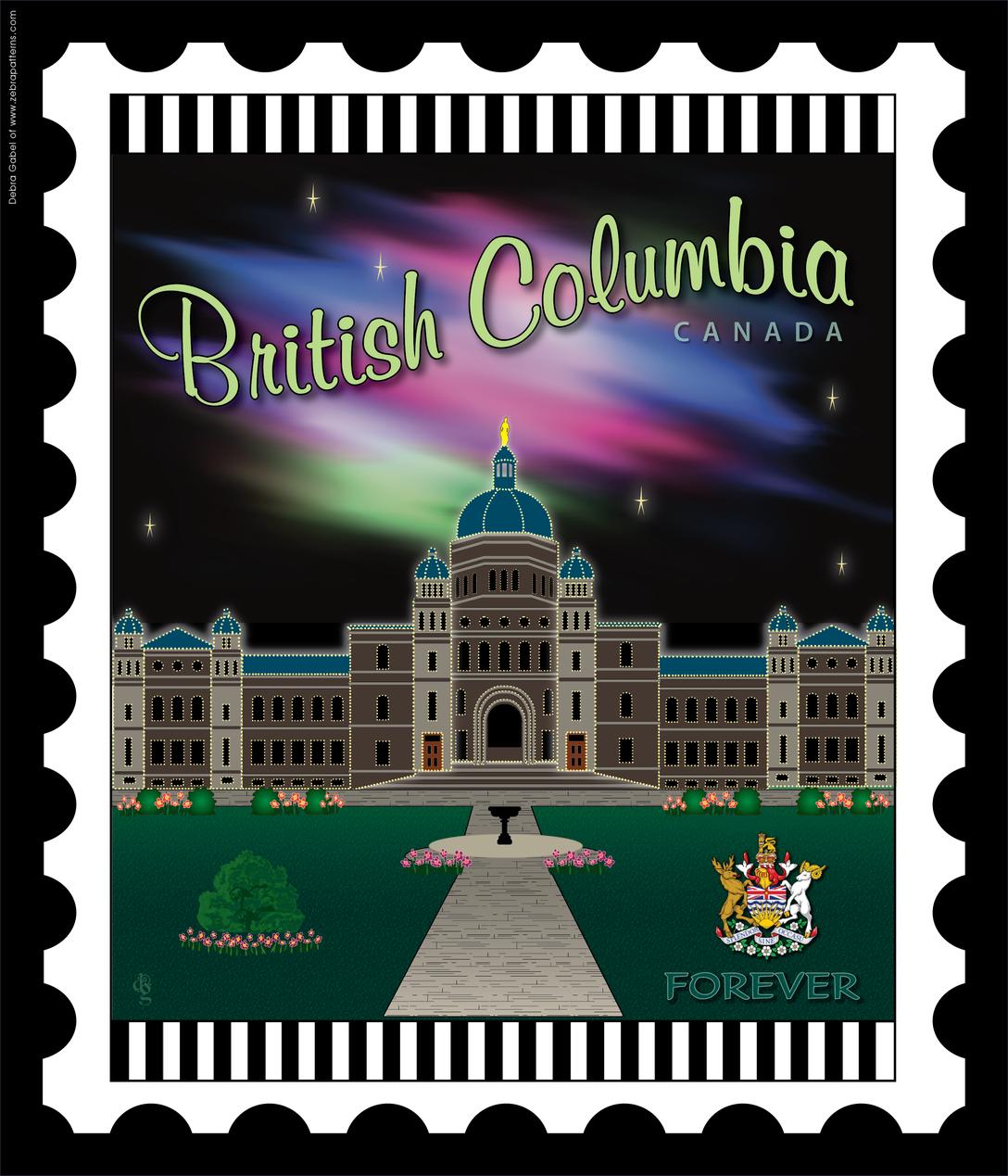 British Columbia Provincestamp By Debra Gabel Vintage Postage